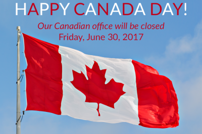 Happy Canada Day!  Our Canadian office will be closed Friday, June 30, 2017